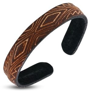 Genuine Brown Leather 2-tone Engraved Tribal